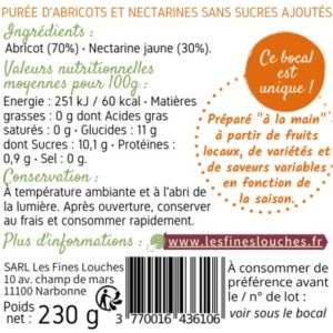 purée abricot nectarine les fines louches informations